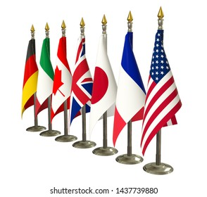G7 flag Isolated Silk flags of Group of Seven summit All countries flags on racks with shadows members G 7 organization with flagpole on white isolated background Great seven world leaders 3d render