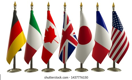 G7 flag Silk flags of summit Group of Seven from front view with every country flag on metal rack with golden spear flagpole Members G 7 organization  Isolate on white Great world leaders 3d render