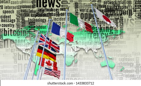 G7 flag Silk waving flags on flagpole countries of members Group of seven summit meeting G 7 leaders unity organization with on world map and TV radio mass media news word background 3d render