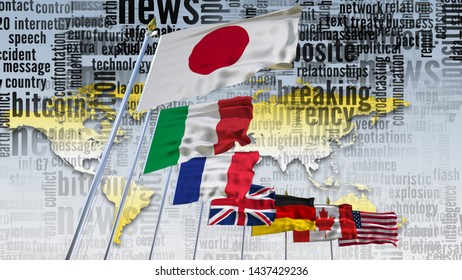 G7 flag Silk waving flags on flagpole countries of members Group of seven summit meeting G 7 leaders unity organization with on world map and TV radio mass media news word background 3d illustration