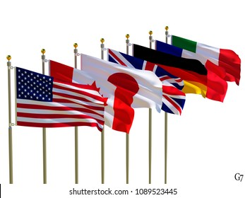 G7 flags Isolated  Silk waving flags of countries of members  Group of Seven Canada Germany Italy France Japan United States United Kingdom with a flagpole on a white background 3D illustration