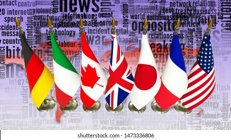 G7 flags on rack Countries of members Group of seven summit meeting G 7 leaders unity organization with on world map and TV radio mass media news word background 3d render