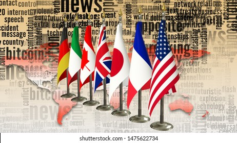 G7 flags on rack Gvernments of members Group of seven summit meeting G 7 leaders unity organization with on world map and TV radio mass media news word background 3d render