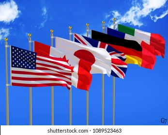 G7 flags Silk waving flags of countries of Group of Seven Canada Germany Italy France Japan USA states United Kingdom with a flagpole on a sunny blue sky background with white clouds 3D illustration