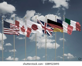 G7 flags Silk waving flags of countries of Group of Seven Canada Germany Italy France Japan USA United Kingdom with a flagpole on a sunny gray blue sky background with white clouds 3D illustration