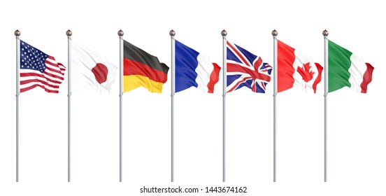 G7 flags Silk waving flags of countries of Group of Seven Canada, Germany, Italy, France, Japan, USA states, United Kingdom 2019. Big Seven. Isolated on white. 3D illustration.