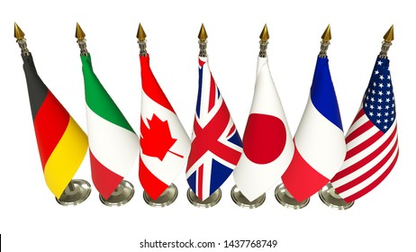 G7 summit flag Isolated Silk flags of Group of Seven from top view with every country flag on rack Members G 7 organization with flagpole on white isolate background Great world leaders 3d render