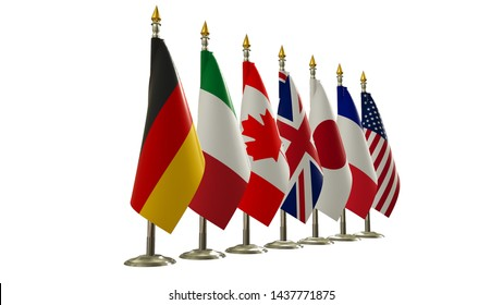 G7 summit flag Isolated silk flags of Group of Seven from left view with country flag on rack Members G 7 organization with flagpole on white isolate background Great world leaders 3d render