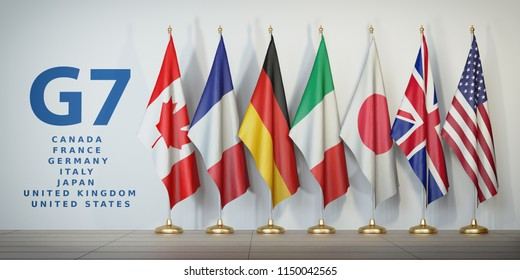 G7 summit or meeting concept. Row from flags of members of G7 group of seven and list of countries, 3d illustration