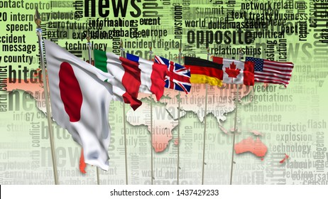 G7 waving flags on flagpole countries of members Group of seven summit meeting G 7 leaders unity organization with on world map and TV radio mass media news word background 3d render