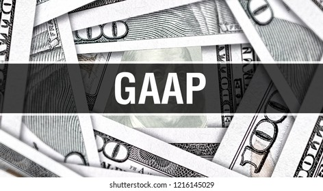 GAAP Closeup Concept. American Dollars Cash Money,3D rendering. GAAP at Dollar Banknote. Financial USA money banknote Commercial money investment profit concept