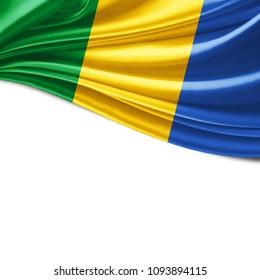 Gabon flag of silk and white background-3D illustration