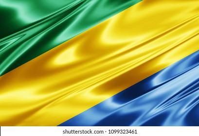 Gabon flag  of silk-3D illustration
