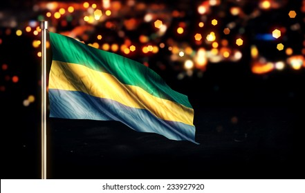 Gabon National Flag City Light Night Bokeh Background 3D