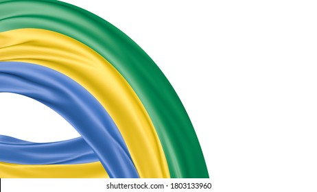 Gabon National Flag Isolated on white background with copy space. 3D illustration