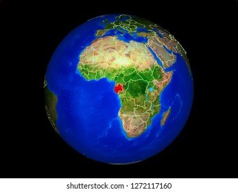 Gabon on planet planet Earth with country borders. Extremely detailed planet surface. 3D illustration. Elements of this image furnished by NASA.