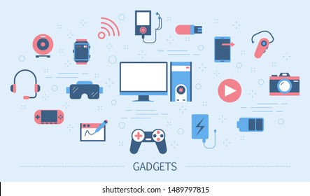 Gadget concept. Idea of digital technology. Computer and mobile phone, camera and smart watch. Set of colorful icons. Isolated flat illustration