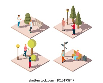 Gadgets people isometric composition with urban park visitors reading texting listening to music on the go  illustration