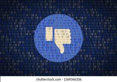 GALATI, ROMANIA - 10 APRIL 2018: Facebook thumb down security and privacy issues. Data encription concept
