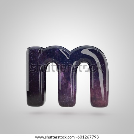 galaxy letter m lowercase 3d render of cosmic bubble font with glint isolated on white