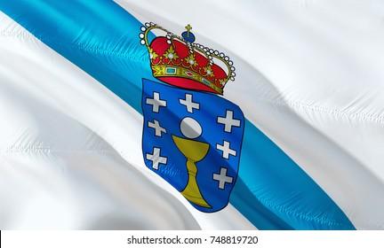 Galicia flag. Republic of Galicia flag waving in the wind. 3D rendering. Galicia Kingdom. Iberian Peninsula, Spain. 3D Waving flag design. Waving sign background wallpaper, 3D pattern.