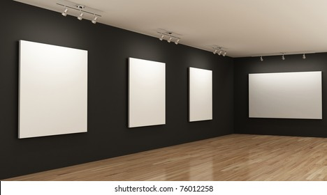 gallery with blank canvases on the walls