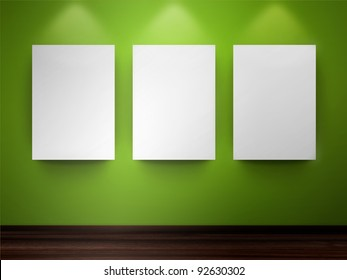 Gallery with empty frames on wall