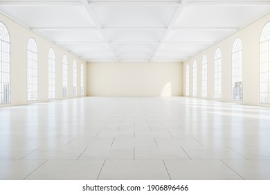 Gallery interior in classic style with large window. Museum and exhibition concept. Mock up, 3D Rendering