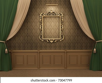 Gallery Interior with empty frame on wall with curtain.