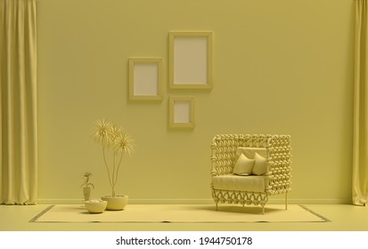 Gallery wall with three picture frames, in monochrome flat single light yellow color room with single chair and plants, 3d Rendering, picture frame mock-up