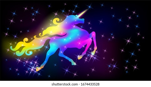 Galloping iridescent unicorn with luxurious winding mane prancing against the background of the fantasy universe with sparkling shining and glowing stars