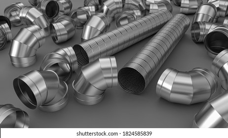 Galvanized elbow spiral duct for air conditioning and ventilation systems in industrial equipment. 3d illustration.