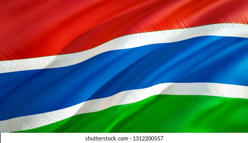 Gambia flag. 3D Waving flag design. The national symbol of Gambia, 3D rendering. National colors and National flag of Gambia for a background. Gambia sign on smooth silk