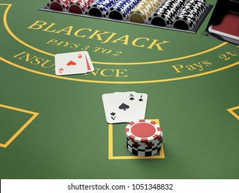gambler at blackjack table in online casino - 3d rendering