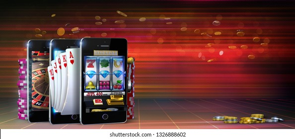 Gambling concept image suggesting the idea of playing slots, poker and roulette games at online casinos using mobile devices. 3D Rendered illustration on a dark red background with copy space