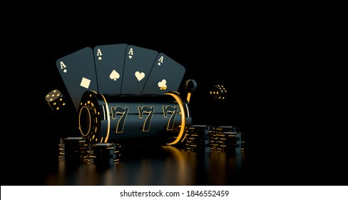 Gambling concept with playing cards, dice, casino chips, slot with neon lights. 3D rendering.