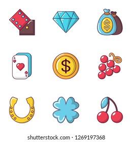 Gambling establishment icons set. Cartoon set of 9 gambling establishment icons for web isolated on white background
