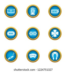 Gambling establishment icons set. Flat set of 9 gambling establishment icons for web isolated on white background