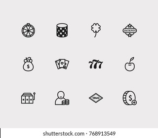 Gambling icons set with 777, bet and money prize elements. Set of gambling icons also including roulette sign for your web app logo UI design.