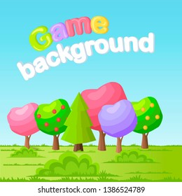 Game background concept with low poly trees on green meadow. funny fairy apple different colors crowns and spruce or pine flat raster. garden forest park illustration