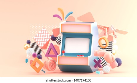 Game cabinet surrounded by wheels, boxing gloves And aircraft On a pink background.-3d rendering.