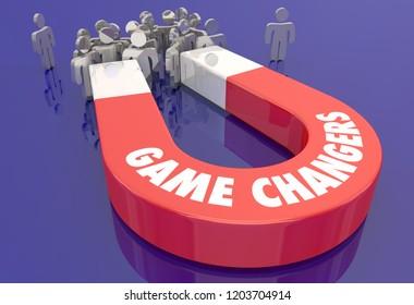 Game Changers Innovators Disruptors Magnet People 3d Illustration