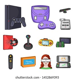 Game console and virtual reality cartoon icons in set collection for design.Game Gadgets bitmap symbol stock web illustration.