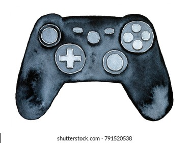 Game controller illustration. Single object, black colour, directly above, top view. Hand drawn water color illustration, cut out, on white background.