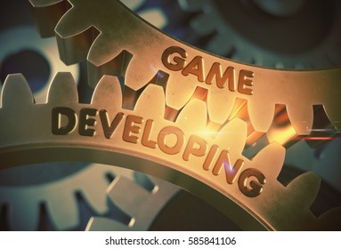 Game Developing - Concept. Game Developing - Industrial Illustration with Glow Effect and Lens Flare. 3D Rendering.