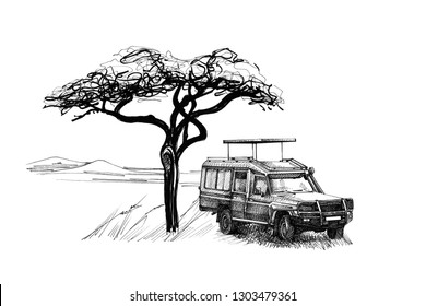 Game drive near a tree in africa. Hand drawn illustration. Collection of hand drawn illustrations (originals, no tracing)