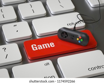 Game key on the keyboard, 3d rendering,conceptual image.