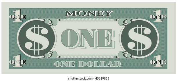 Game money - one dollar bill. Vector version is available.