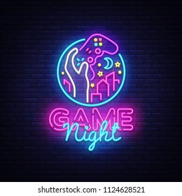 Game Night neon sign logo design template. Game night logo in neon style, gamepad in hand, video game concept, modern trend design, light banner, bright nightlife advertisement. .