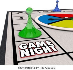 Game Night words on a board game with pieces moving around in fun competition